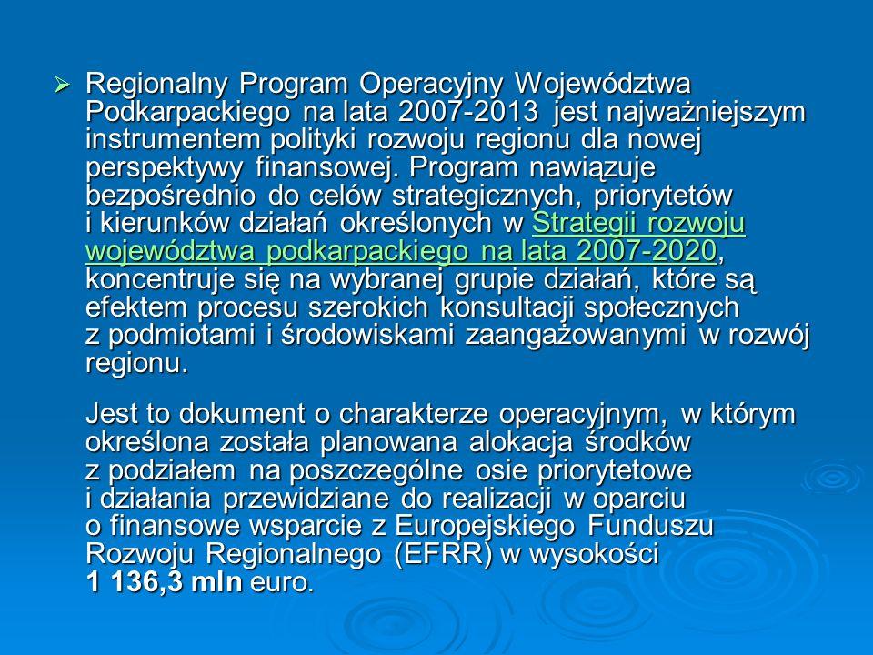 Regionalny Program Operacyjny Województwa Podkarpackiego na lata 2007-2013 jest najważniejszym instrumentem polityki rozwoju regionu dla nowej perspek