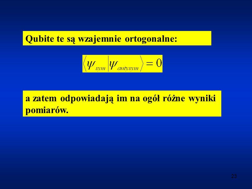 23 Qubite te są wzajemnie ortogonalne: a zatem odpowiadają im na ogół różne wyniki pomiarów.
