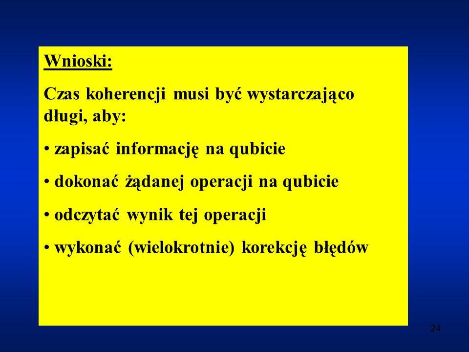 24 Wnioski: Czas koherencji musi być wystarczająco długi, aby: zapisać informację na qubicie dokonać żądanej operacji na qubicie odczytać wynik tej op