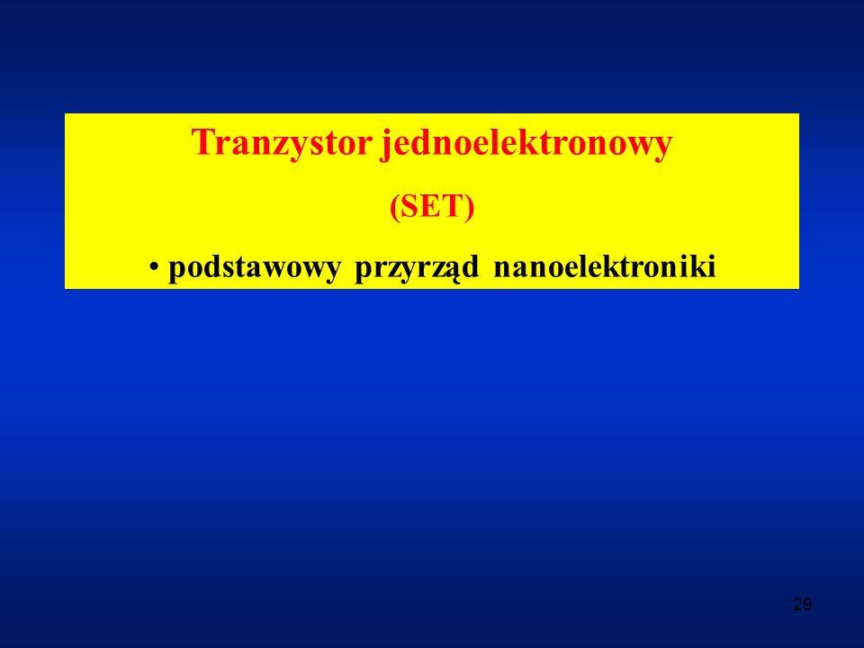 29 Tranzystor jednoelektronowy (SET) podstawowy przyrząd nanoelektroniki