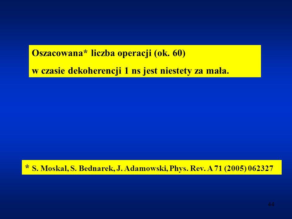 44 Oszacowana* liczba operacji (ok. 60) w czasie dekoherencji 1 ns jest niestety za mała. * S. Moskal, S. Bednarek, J. Adamowski, Phys. Rev. A 71 (200