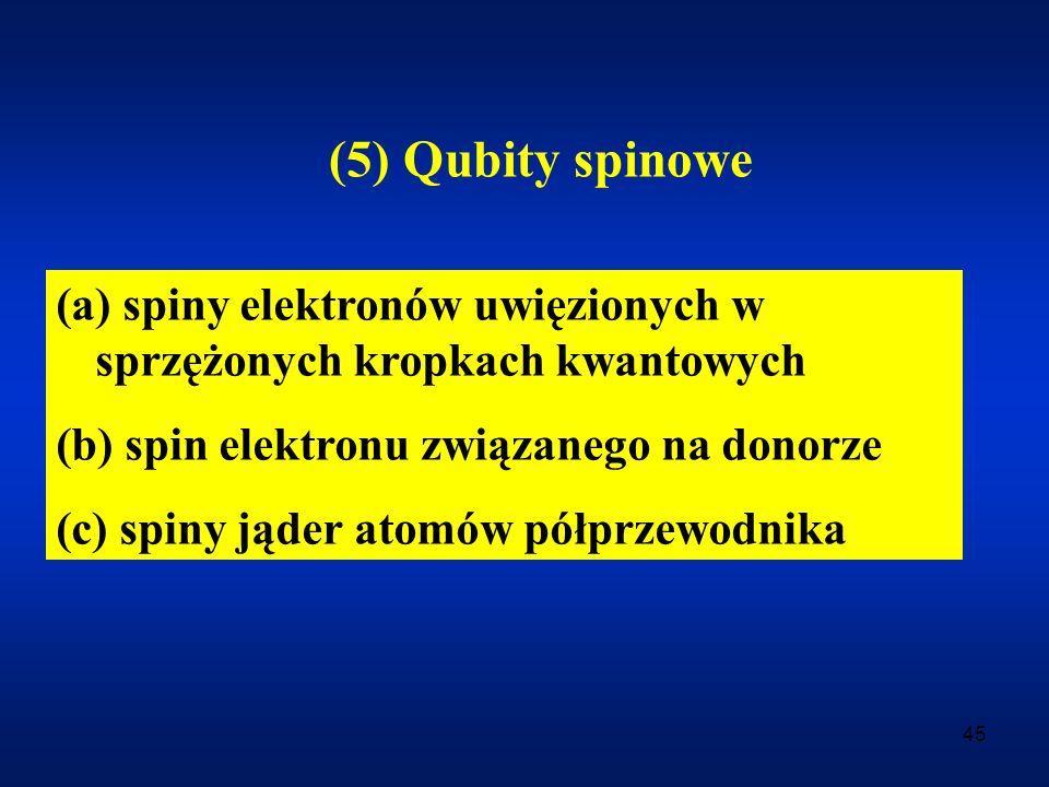 45 (5) Qubity spinowe (a) spiny elektronów uwięzionych w sprzężonych kropkach kwantowych (b) spin elektronu związanego na donorze (c) spiny jąder atom
