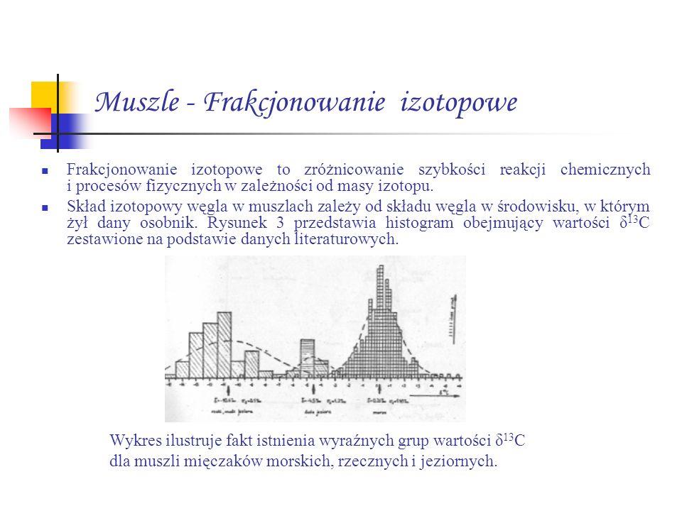 Muszle - Frakcjonowanie izotopowe Frakcjonowanie izotopowe to zróżnicowanie szybkości reakcji chemicznych i procesów fizycznych w zależności od masy i