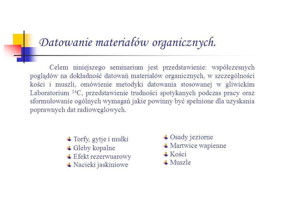 Torfy, gytje i mułki Torfy i gytje detrytusowi zaliczane są do klasycznych materiałów nadających się znakomicie do datowania metodą 14 C.