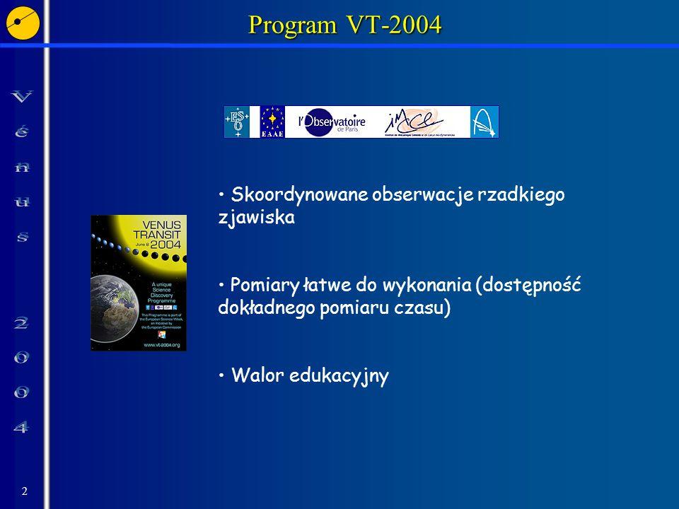 3 Progarm VT-2004 Walor edukacyjny Poznanie historii pomiarów odległości w Układzie Słonecznym Poznanie zasad ruchu ciał niebieskich Zapoznanie z metodą przygotowania eksperymentu naukowego oraz przeprowadzenia pomiarów przydatnych dla badań naukowych Zainteresowanie wymianą informacji pomiędzy uczestnikami programu (niezbędny składnik pracy naukowej)