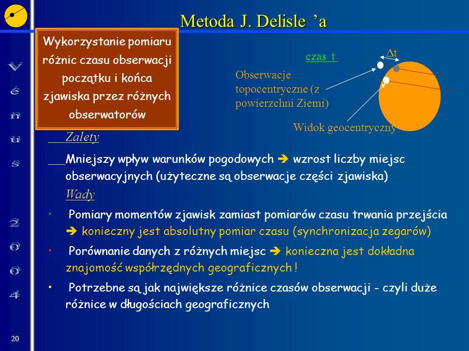 20 Metoda J. Delisle a Zalety Mniejszy wpływ warunków pogodowych wzrost liczby miejsc obserwacyjnych (użyteczne są obserwacje części zjawiska) Wady Po