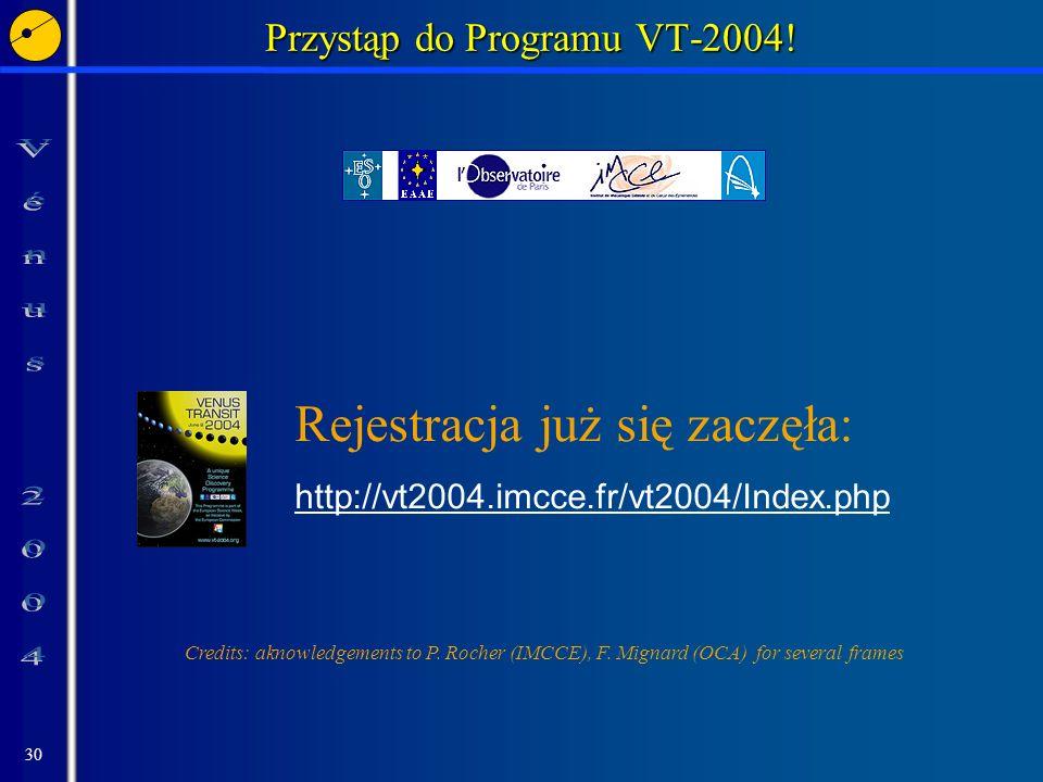 30 Przystąp do Programu VT-2004! Rejestracja już się zaczęła: http://vt2004.imcce.fr/vt2004/Index.php Credits: aknowledgements to P. Rocher (IMCCE), F