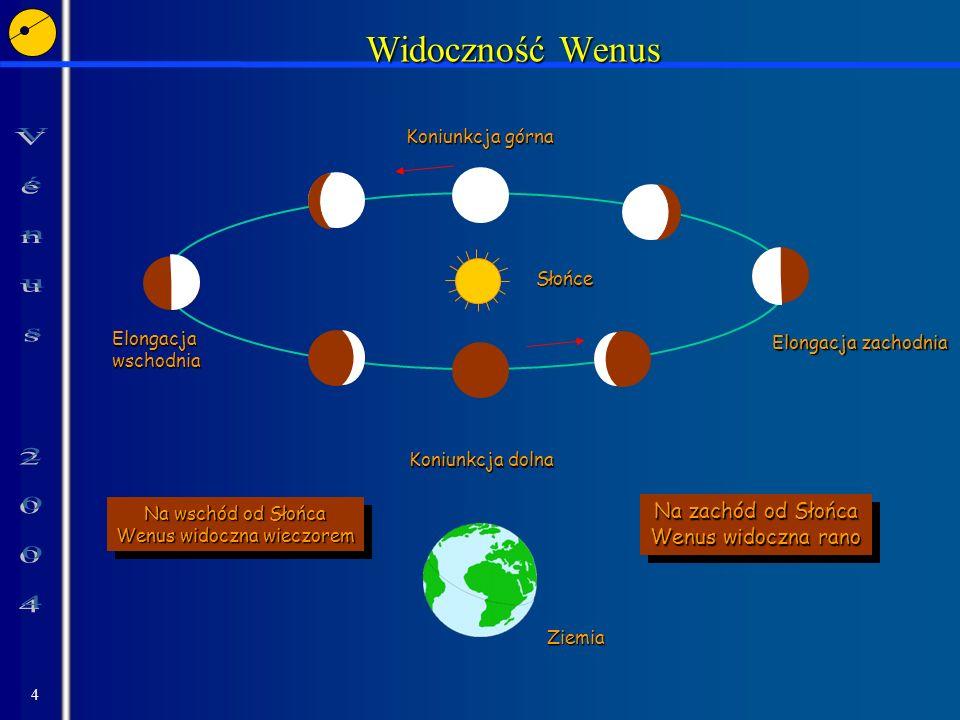 4 Widoczność Wenus Ziemia Słońce Koniunkcja dolna Koniunkcja górna Elongacja wschodnia Na wschód od Słońca Wenus widoczna wieczorem Na wschód od Słońc