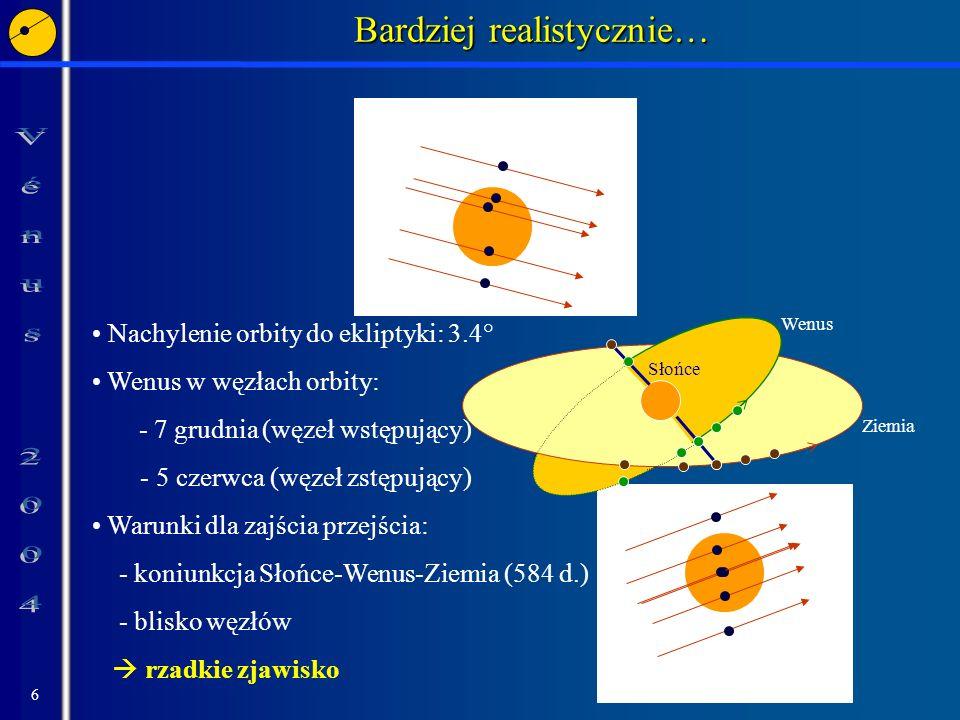 6 Noeud ascendant Nœud descendant Bardziej realistycznie… Ziemia Wenus. Słońce Nachylenie orbity do ekliptyki: 3.4° Wenus w węzłach orbity: - 7 grudni