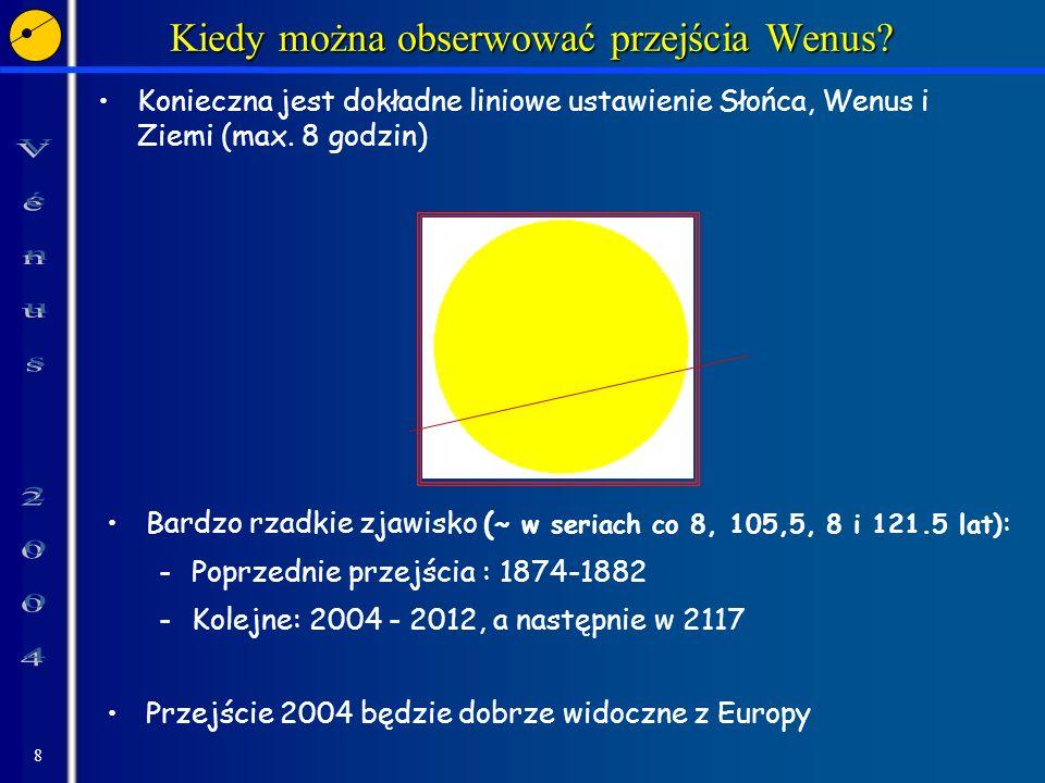 8 Kiedy można obserwować przejścia Wenus? Konieczna jest dokładne liniowe ustawienie Słońca, Wenus i Ziemi (max. 8 godzin) Bardzo rzadkie zjawisko ( ~