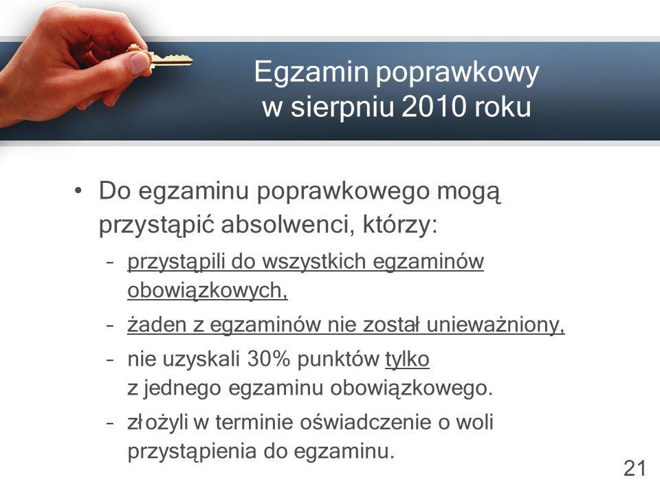 21 Egzamin poprawkowy w sierpniu 2010 roku Do egzamin u poprawkowego mogą przystąpić absolwenci, którzy: –przystąpili do wszystkich egzaminów obowiązk