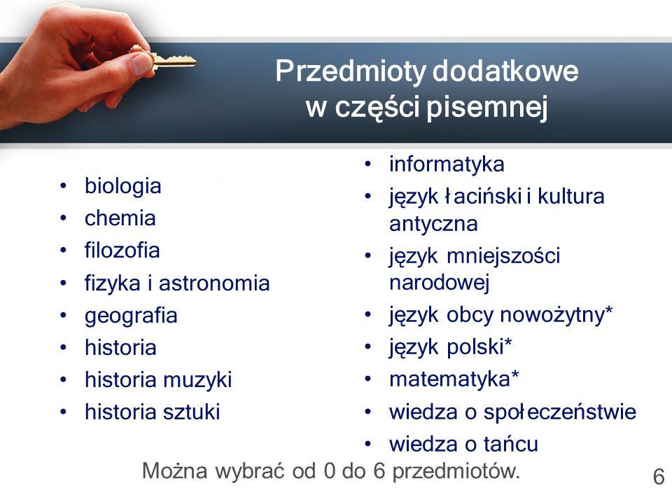 Przedmioty dodatkowe w części pisemnej biologia chemia filozofia fizyka i astronomia geografia historia historia muzyki historia sztuki informatyka ję