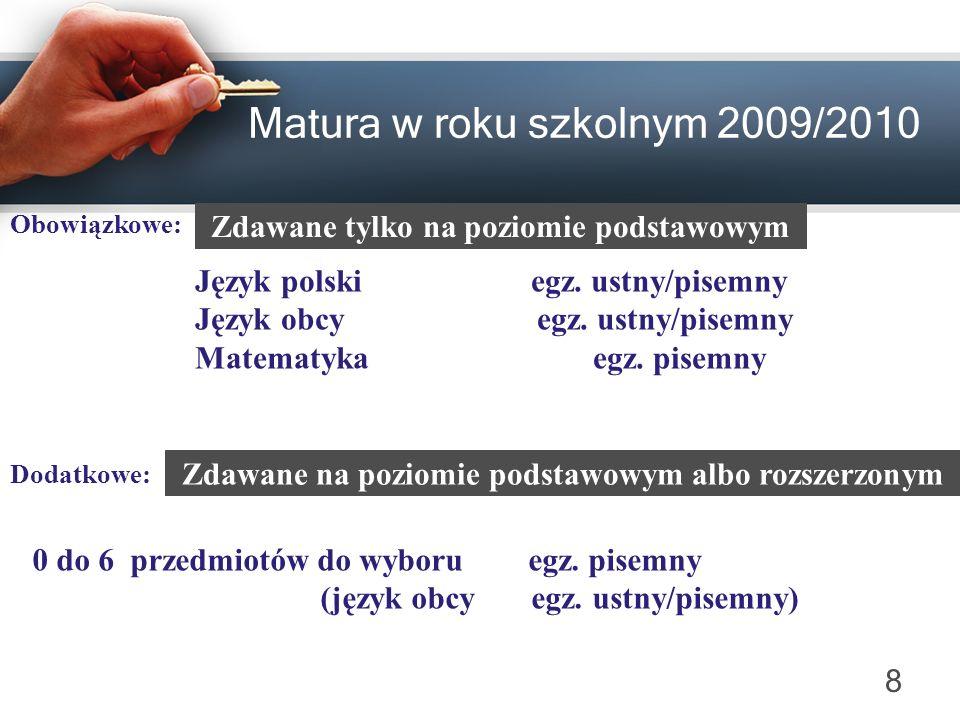 Matura w roku szkolnym 2009/2010 Obowiązkowe: Język polski egz. ustny/pisemny Język obcy egz. ustny/pisemny Matematyka egz. pisemny Dodatkowe: 0 do 6