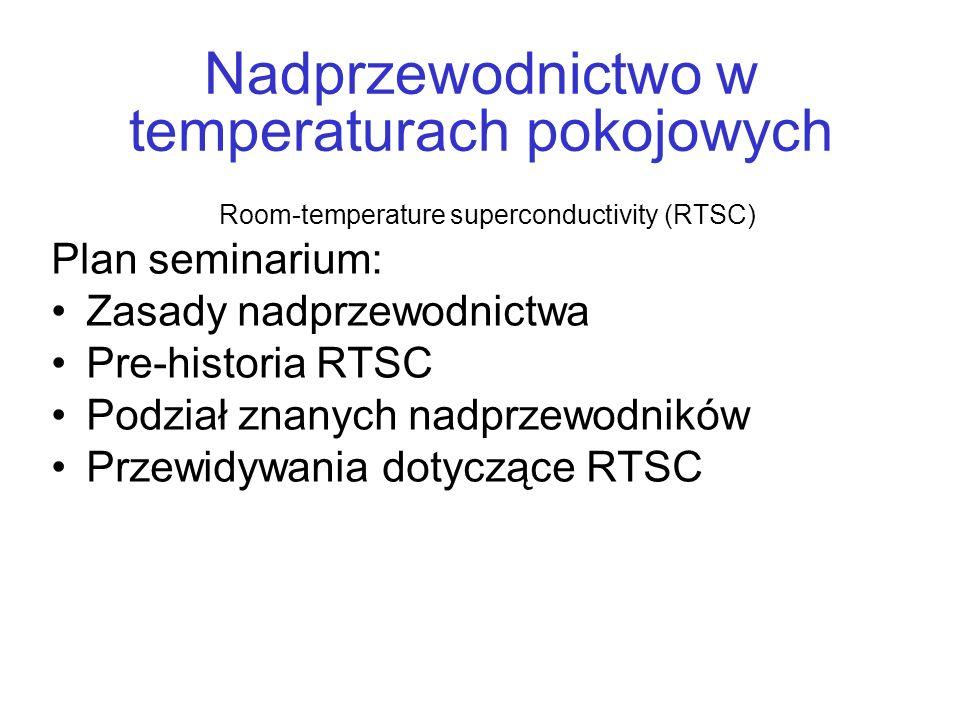 Nadprzewodnictwo w temperaturach pokojowych Room-temperature superconductivity (RTSC) Plan seminarium: Zasady nadprzewodnictwa Pre-historia RTSC Podzi