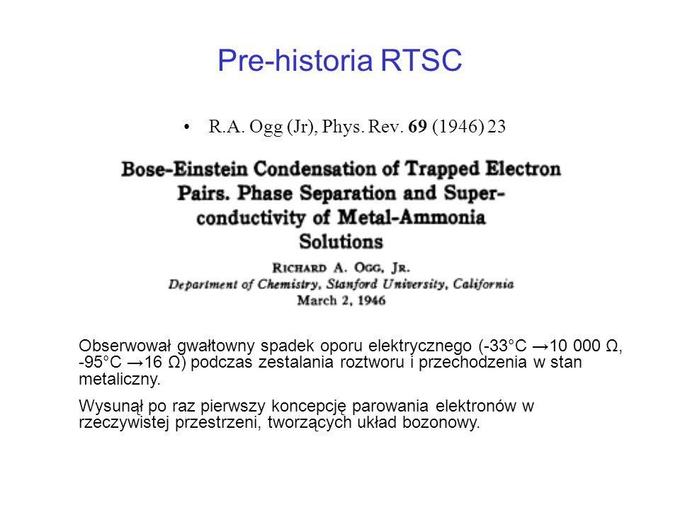 Pre-historia RTSC R.A. Ogg (Jr), Phys. Rev. 69 (1946) 23 Obserwował gwałtowny spadek oporu elektrycznego (-33°C 10 000 Ω, -95°C 16 Ω) podczas zestalan