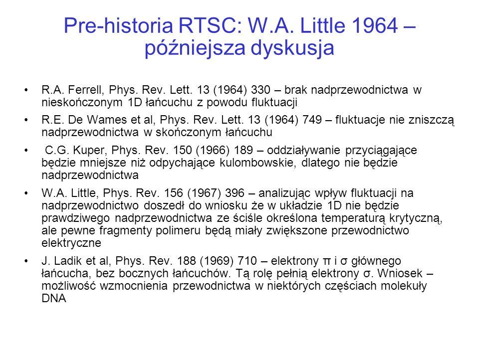Pre-historia RTSC: W.A. Little 1964 – późniejsza dyskusja R.A. Ferrell, Phys. Rev. Lett. 13 (1964) 330 – brak nadprzewodnictwa w nieskończonym 1D łańc