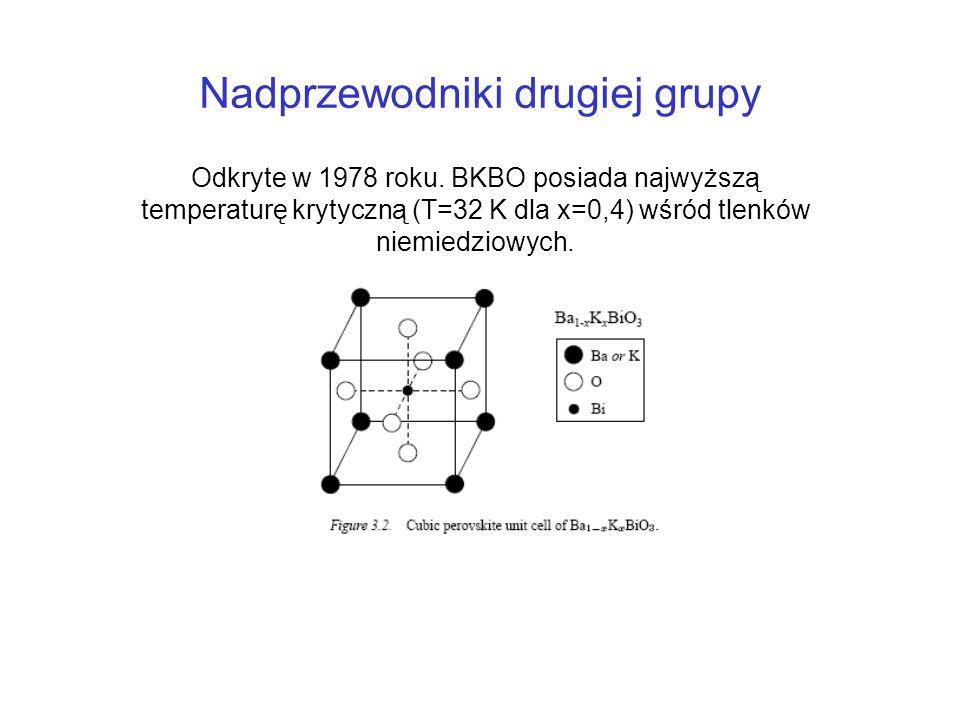 Nadprzewodniki drugiej grupy Odkryte w 1978 roku. BKBO posiada najwyższą temperaturę krytyczną (T=32 K dla x=0,4) wśród tlenków niemiedziowych.