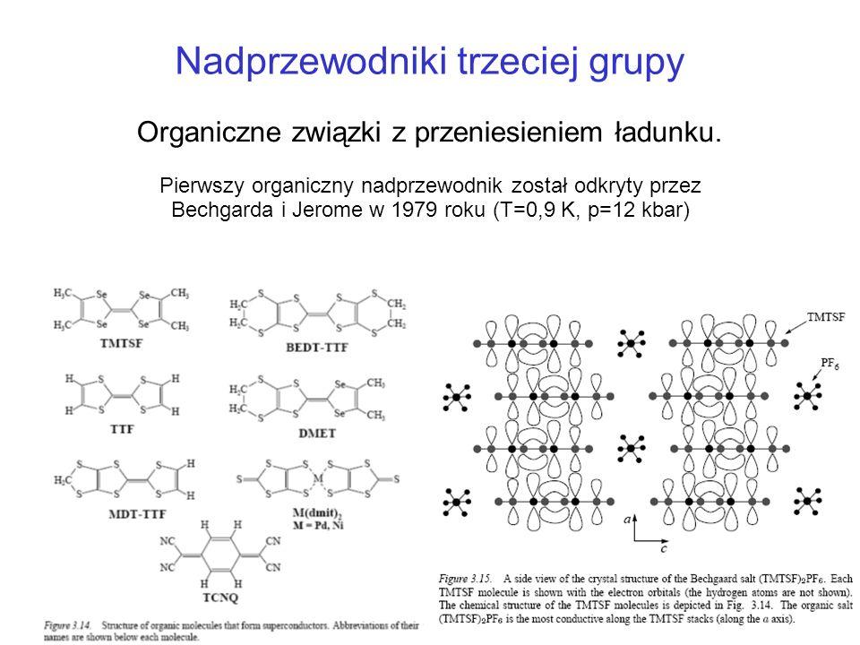Organiczne związki z przeniesieniem ładunku. Pierwszy organiczny nadprzewodnik został odkryty przez Bechgarda i Jerome w 1979 roku (T=0,9 K, p=12 kbar