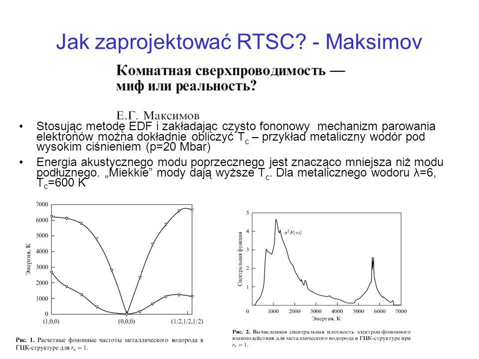 Jak zaprojektować RTSC? - Maksimov Stosując metodę EDF i zakładając czysto fononowy mechanizm parowania elektronów można dokładnie obliczyć T c – przy