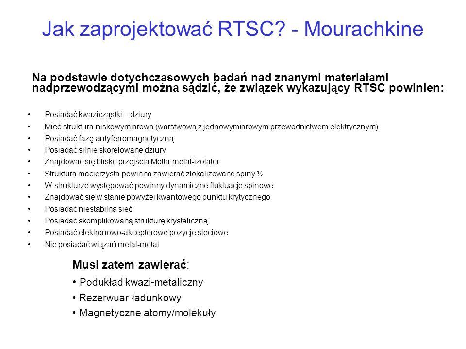 Jak zaprojektować RTSC? - Mourachkine Posiadać kwazicząstki – dziury Mieć struktura niskowymiarowa (warstwową z jednowymiarowym przewodnictwem elektry