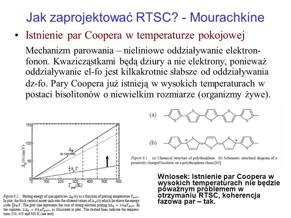Jak zaprojektować RTSC? - Mourachkine Istnienie par Coopera w temperaturze pokojowej Mechanizm parowania – nieliniowe oddziaływanie elektron- fonon. K