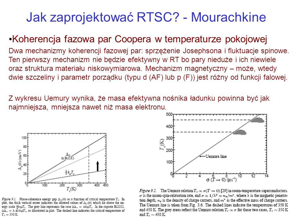Jak zaprojektować RTSC? - Mourachkine Koherencja fazowa par Coopera w temperaturze pokojowej Dwa mechanizmy koherencji fazowej par: sprzężenie Josephs