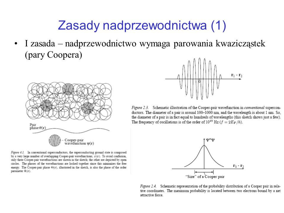 Zasady nadprzewodnictwa (1) I zasada – nadprzewodnictwo wymaga parowania kwazicząstek (pary Coopera)