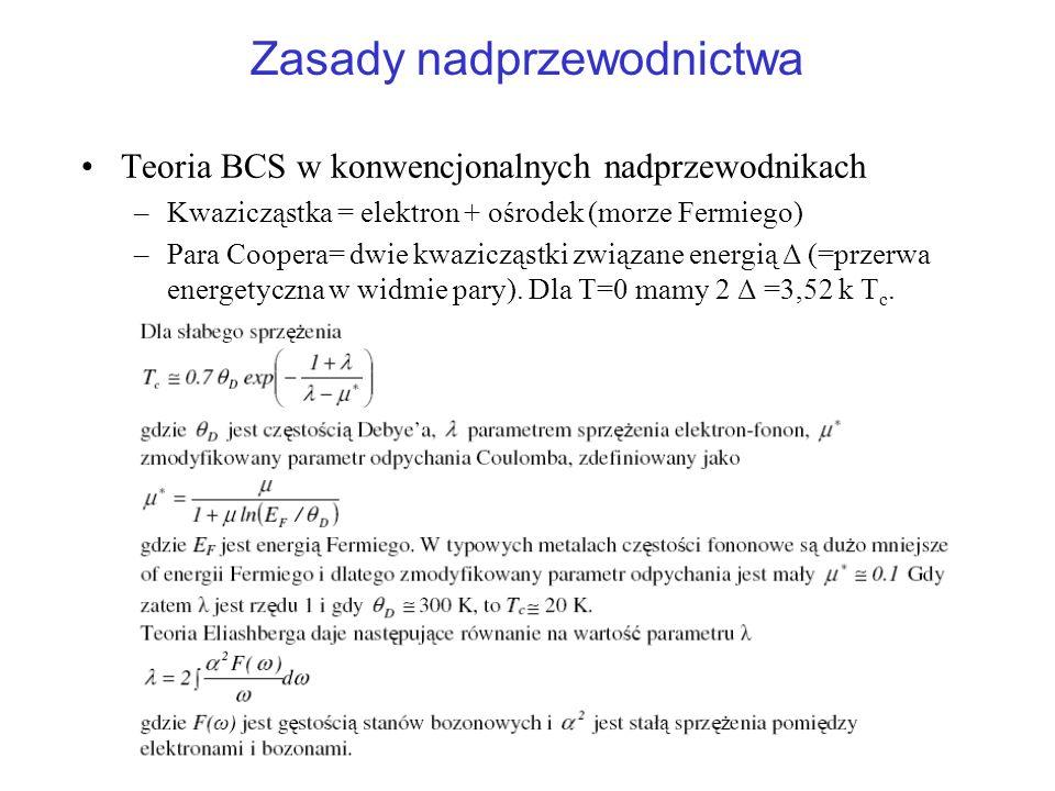 Zasady nadprzewodnictwa Teoria BCS w konwencjonalnych nadprzewodnikach –Kwazicząstka = elektron + ośrodek (morze Fermiego) –Para Coopera= dwie kwazicz