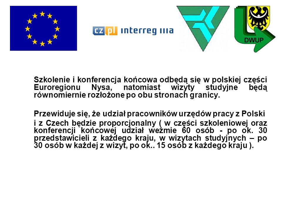 Szkolenie i konferencja końcowa odbędą się w polskiej części Euroregionu Nysa, natomiast wizyty studyjne będą równomiernie rozłożone po obu stronach g