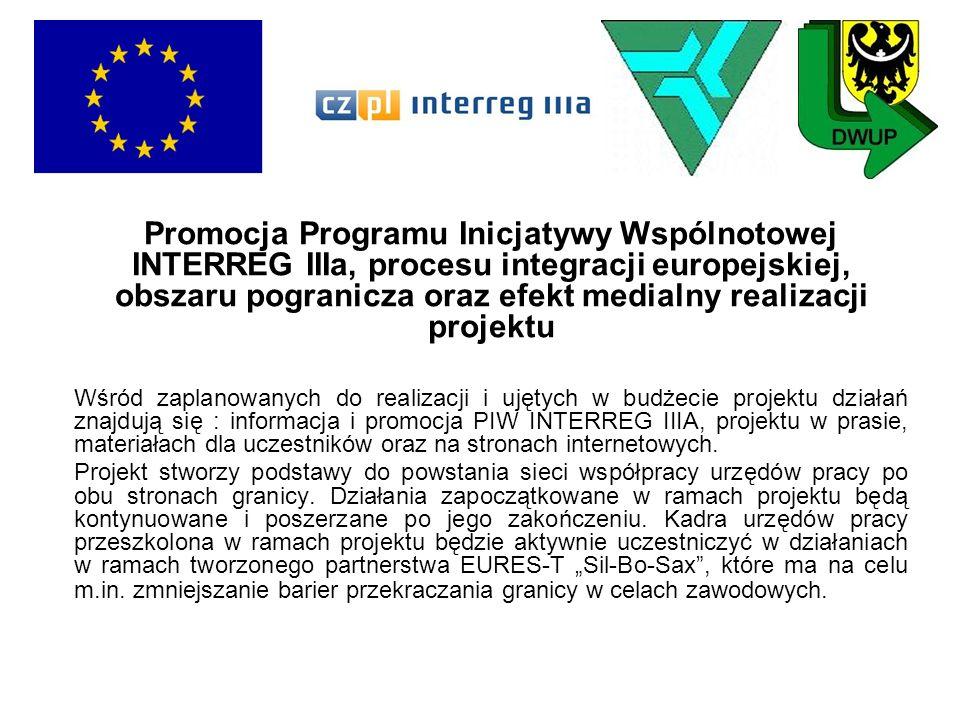 Promocja Programu Inicjatywy Wspólnotowej INTERREG IIIa, procesu integracji europejskiej, obszaru pogranicza oraz efekt medialny realizacji projektu W