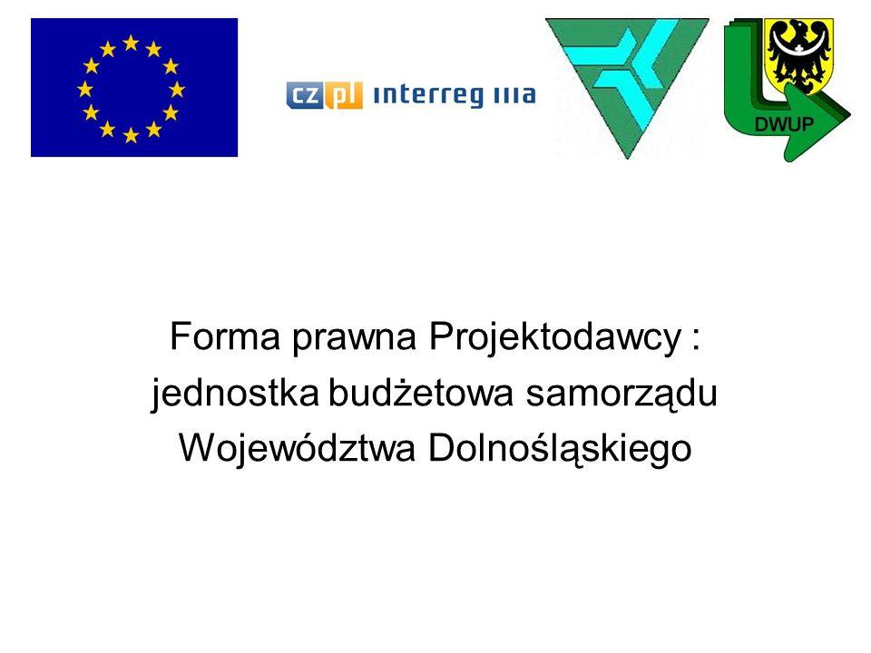 Forma prawna Projektodawcy : jednostka budżetowa samorządu Województwa Dolnośląskiego