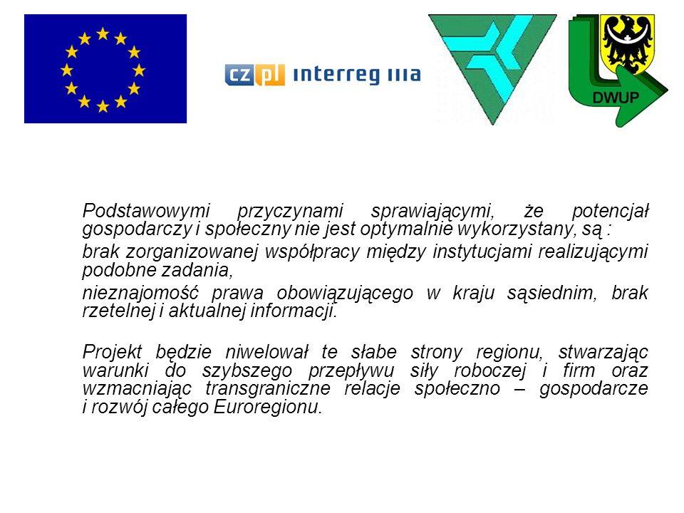 Poprzez szkolenia i wizyty studyjne służące poznaniu się kadr urzędów pracy i poznanie regulacji prawnych w kraju partnerskim, stwarza warunki organizacji długotrwałej współpracy transgranicznej instytucji odpowiedzialnych za wspieranie lokalnej współpracy gospodarczej, przeciwdziałanie bezrobociu i wspieranie podejmowania działalności gospodarczej.