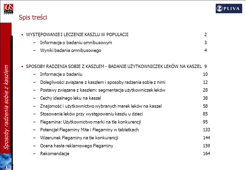 Sposoby radzenia sobie z kaszlem Raport z badania ilościowego przygotowany dla firmy Warszawa, lipiec 2006 Przygotowanie: Przemysław Frąk