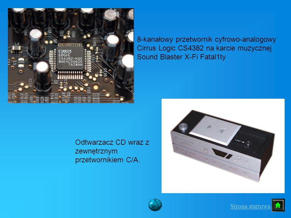8-kanałowy przetwornik cyfrowo-analogowy Cirrus Logic CS4382 na karcie muzycznej Sound Blaster X-Fi Fatal1ty Odtwarzacz CD wraz z zewnętrznym przetwor