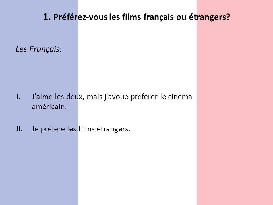 Les Français: I.J'aime les deux, mais j'avoue préférer le cinéma américain. II.Je préfère les films étrangers.