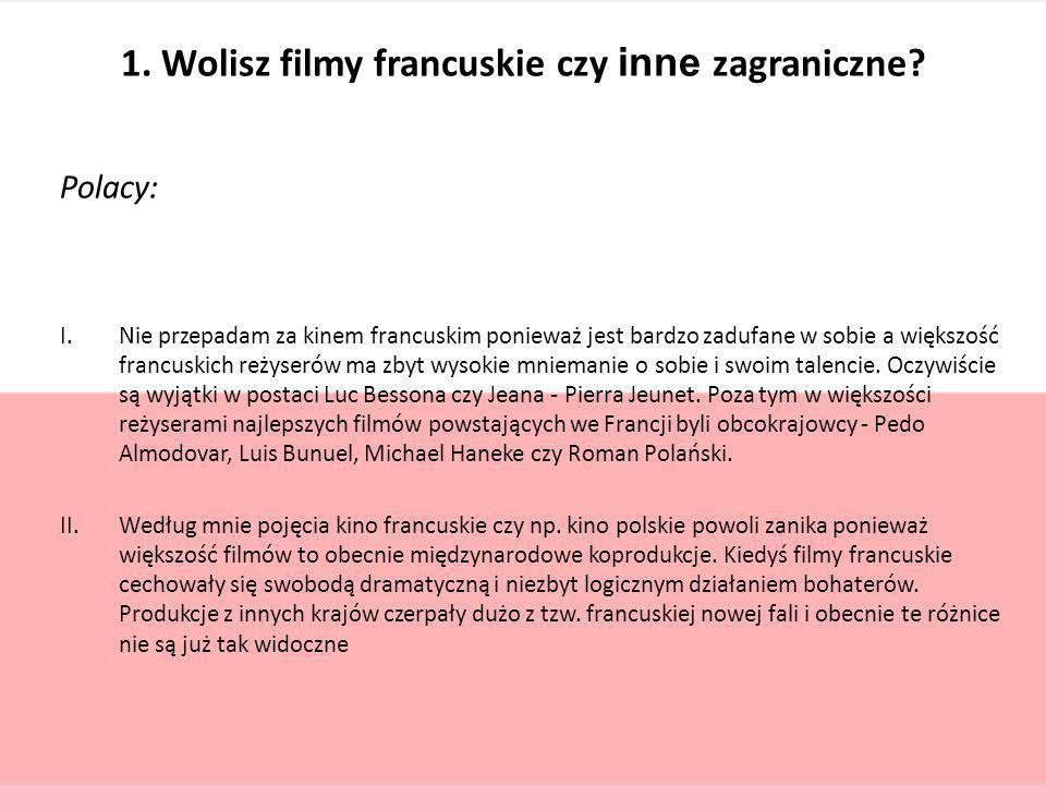 1. Wolisz filmy francuskie czy inne zagraniczne? Polacy: I.Nie przepadam za kinem francuskim ponieważ jest bardzo zadufane w sobie a większość francus