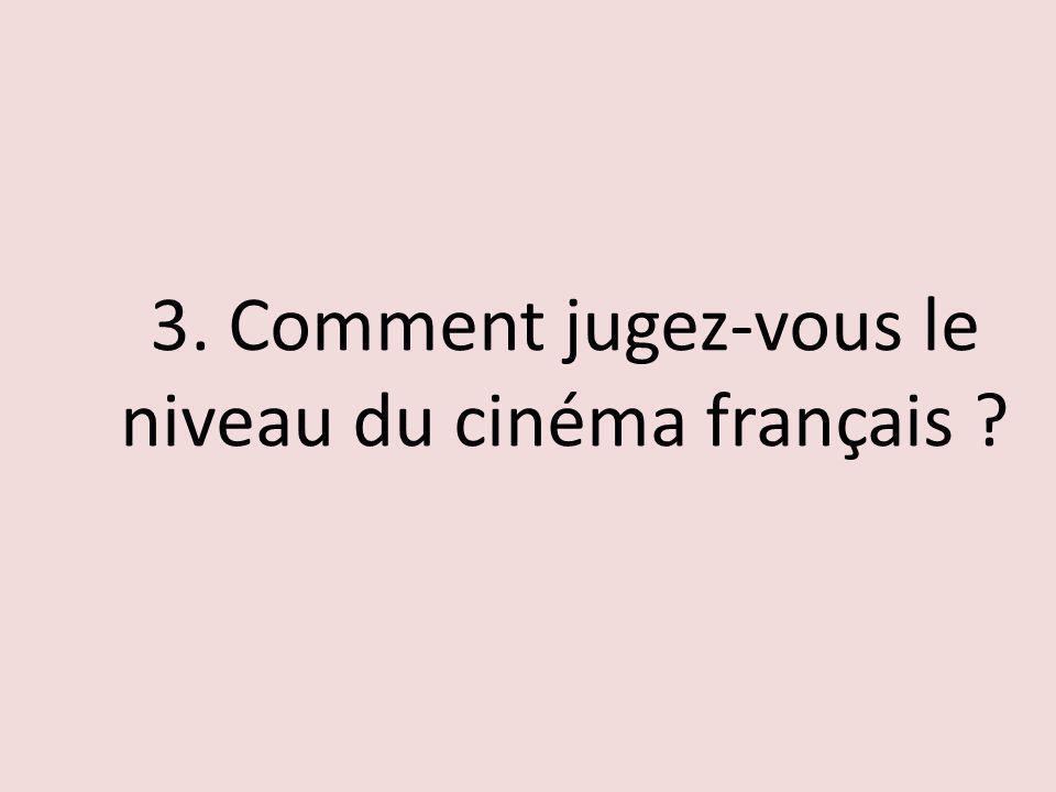 3. Comment jugez-vous le niveau du cinéma français ?