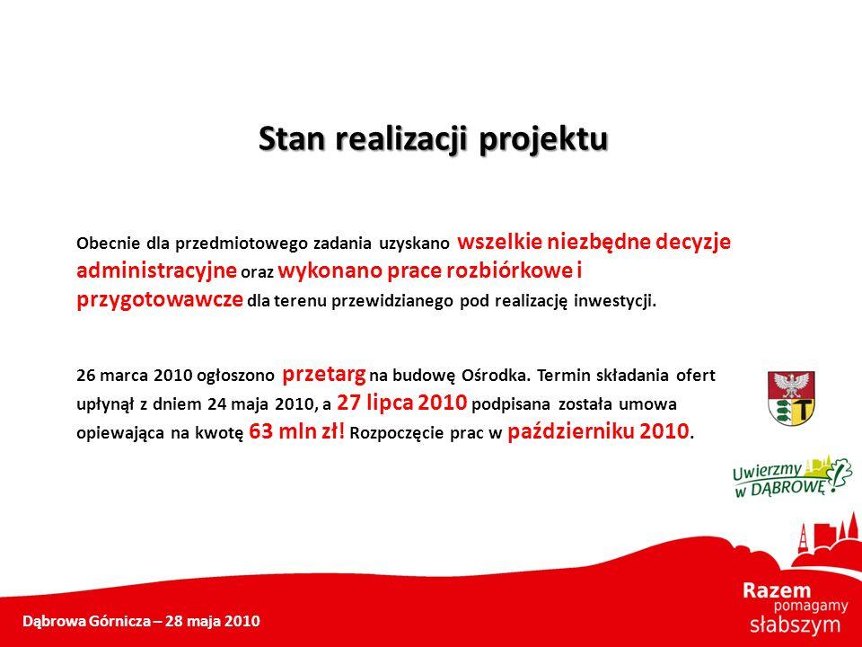 Dąbrowa Górnicza – 28 maja 2010 Stan realizacji projektu Obecnie dla przedmiotowego zadania uzyskano wszelkie niezbędne decyzje administracyjne oraz w