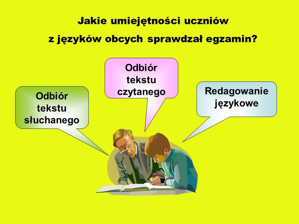 Jakie umiejętności uczniów z języków obcych sprawdzał egzamin? Odbiór tekstu słuchanego Odbiór tekstu czytanego Redagowanie językowe