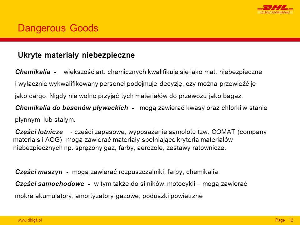 www.dhlgf.plPage12 Ukryte materiały niebezpieczne Dangerous Goods Chemikalia - większość art. chemicznych kwalifikuje się jako mat. niebezpieczne i wy