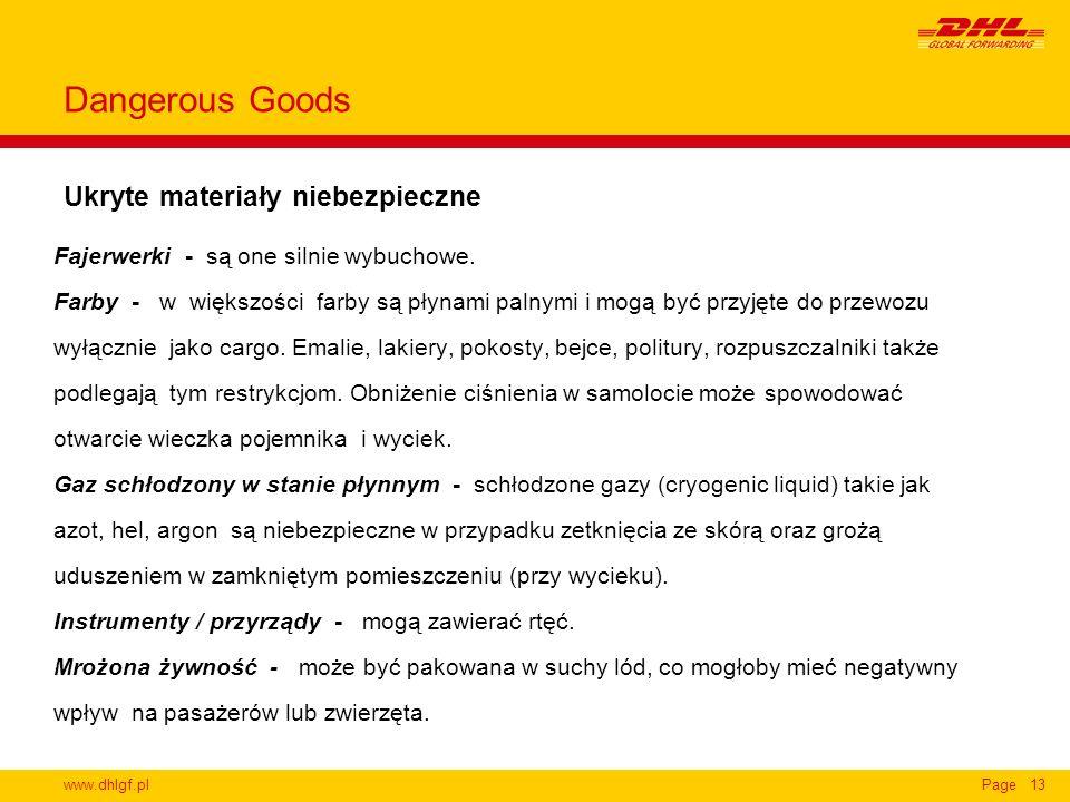 www.dhlgf.plPage13 Ukryte materiały niebezpieczne Dangerous Goods Fajerwerki - są one silnie wybuchowe. Farby - w większości farby są płynami palnymi