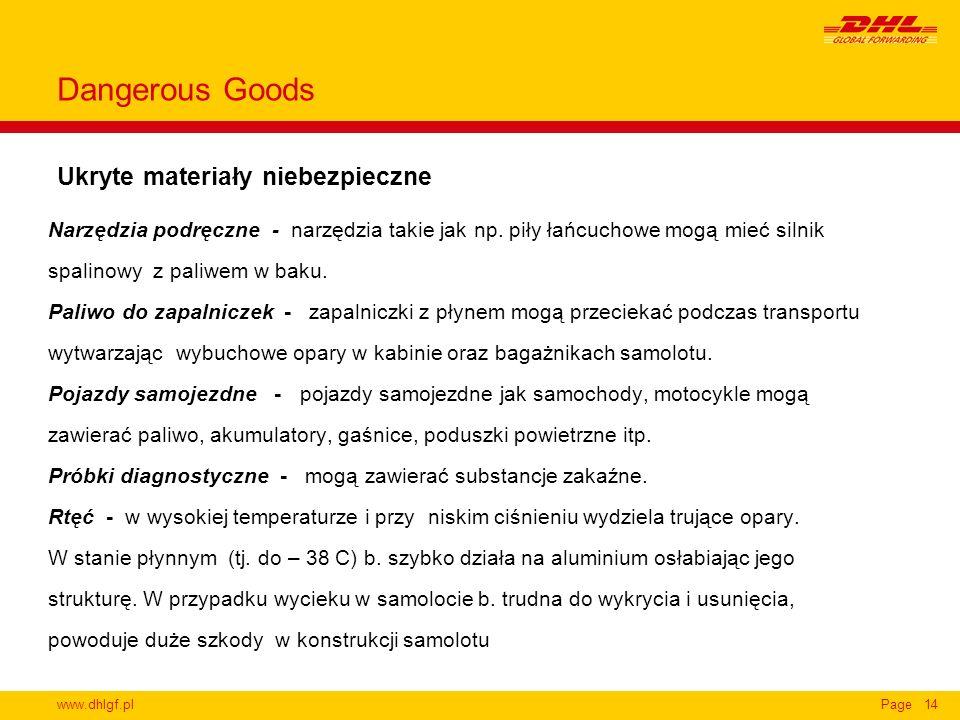 www.dhlgf.plPage14 Ukryte materiały niebezpieczne Dangerous Goods Narzędzia podręczne - narzędzia takie jak np. piły łańcuchowe mogą mieć silnik spali