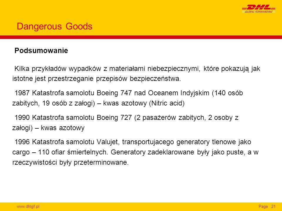www.dhlgf.plPage21 Podsumowanie Dangerous Goods Kilka przykładów wypadków z materiałami niebezpiecznymi, które pokazują jak istotne jest przestrzegani