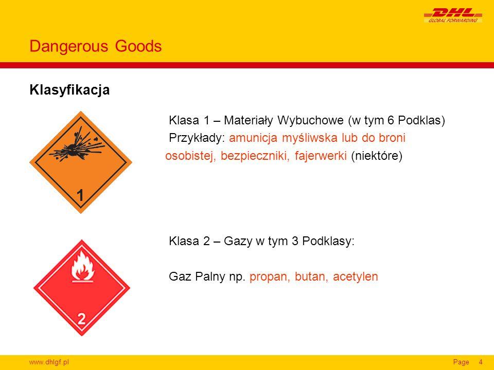 www.dhlgf.plPage4 Klasyfikacja Dangerous Goods Klasa 1 – Materiały Wybuchowe (w tym 6 Podklas) Przykłady: amunicja myśliwska lub do broni osobistej, b