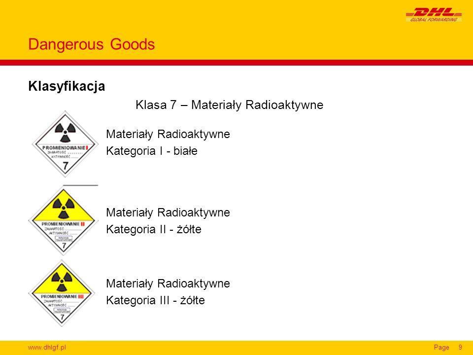 www.dhlgf.plPage9 Klasyfikacja Dangerous Goods Klasa 7 – Materiały Radioaktywne Materiały Radioaktywne Kategoria I - białe Materiały Radioaktywne Kate