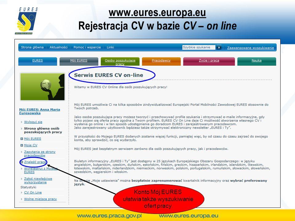 www.eures.europa.eu Rejestracja CV w bazie CV – on line Konto Mój EURES ułatwia także wyszukiwanie ofert pracy.