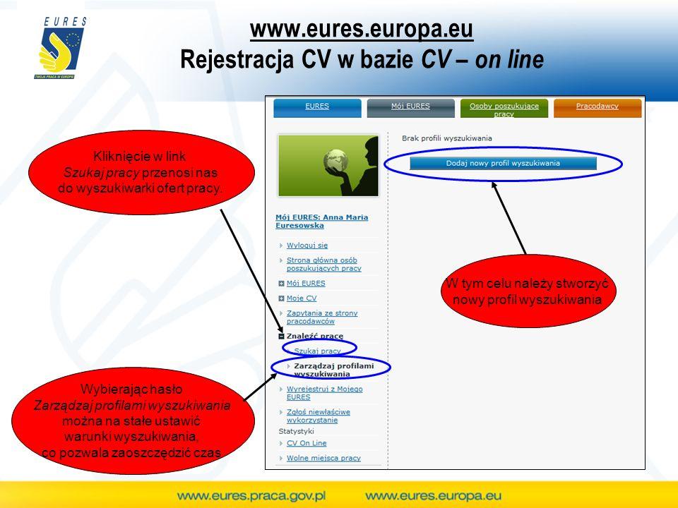 www.eures.europa.eu Rejestracja CV w bazie CV – on line Kliknięcie w link Szukaj pracy przenosi nas do wyszukiwarki ofert pracy. Wybierając hasło Zarz