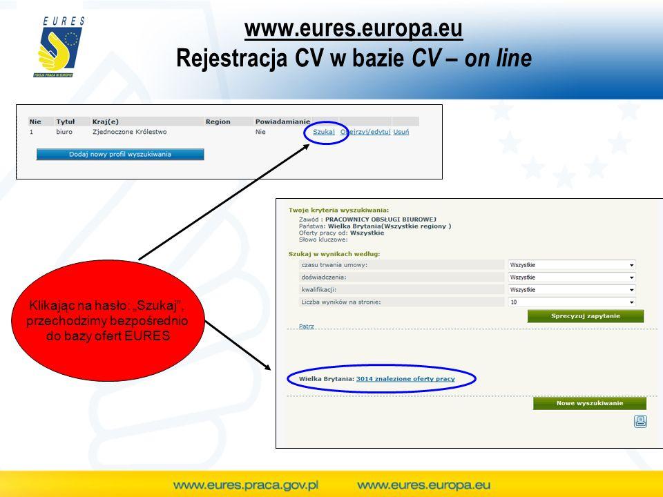 www.eures.europa.eu Rejestracja CV w bazie CV – on line Klikając na hasło: Szukaj, przechodzimy bezpośrednio do bazy ofert EURES