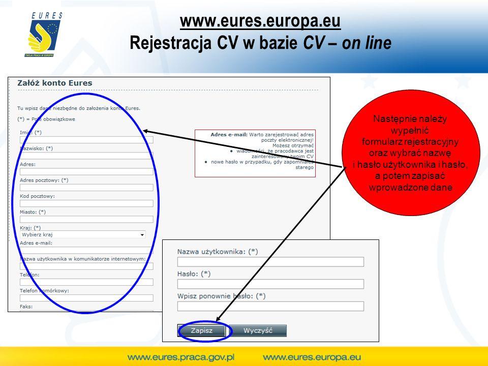 www.eures.europa.eu Rejestracja CV w bazie CV – on line Następnie należy wypełnić formularz rejestracyjny oraz wybrać nazwę i hasło użytkownika i hasł