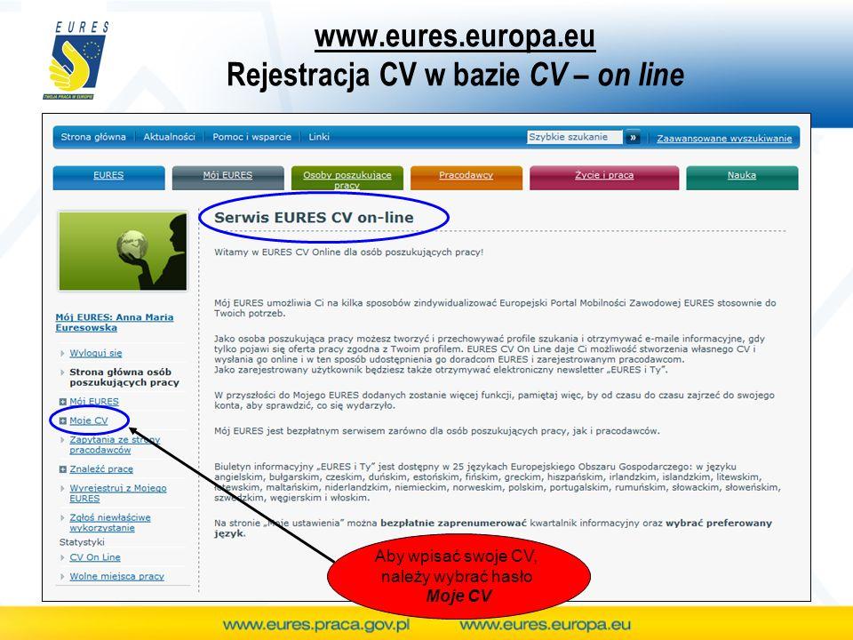 www.eures.europa.eu Rejestracja CV w bazie CV – on line Aby wpisać swoje CV, należy wybrać hasło Moje CV